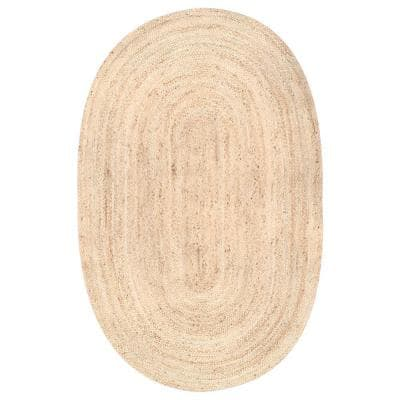 Rigo Chunky Loop Jute Tan 9 ft. x 12 ft. Oval Rug