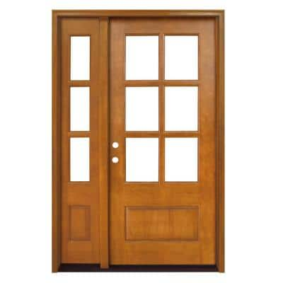 54 in. x 80 in. Craftsman Savannah 6 Lite RHIS Autumn Wheat Mahogany Wood Prehung Front Door with Single 14 in. Sidelite