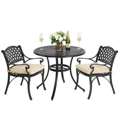 Antique Bronze 3-Piece Cast Aluminum Patio Conversation Set with Tan Cushions, 36 in. Round Table and 2 Arm Chairs