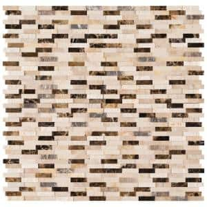 Emperador Blend Split Face Peel and Stick 12 in. x 12 in. x 6 mm Mixed Marble Mosaic Tile (15 sq. ft. / case)