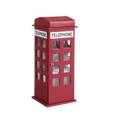 11.5 in. British Telephone Booth Burgundy Leather Jewelry Box