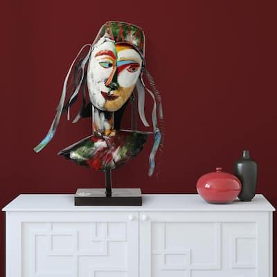 """Homme1"" Mixed Media Iregular Iron Hand-Pinted Colorful Art Sculpture"