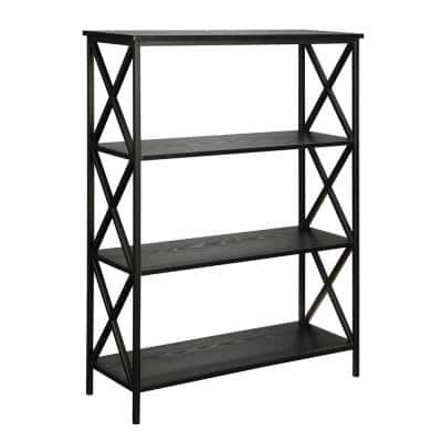 42 in. Black Metal 4-shelf Etagere Bookcase with Open Back
