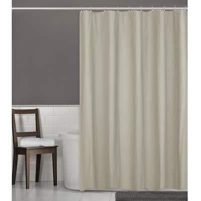 70 in. W x 72 in. L Herringbone Ultimate Waterproof Fabric Shower Curtain or Liner, Linen