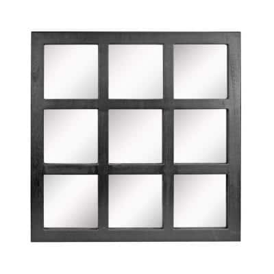 23.5in x 23.5in Classic Square Black Wood Framed Accent Mirror