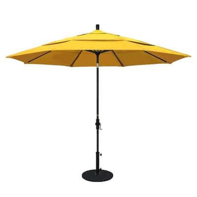 11 ft. Black Aluminum Pole Market Aluminum Ribs Crank Lift Outdoor Patio Umbrella in Sunflower Yellow Sunbrella