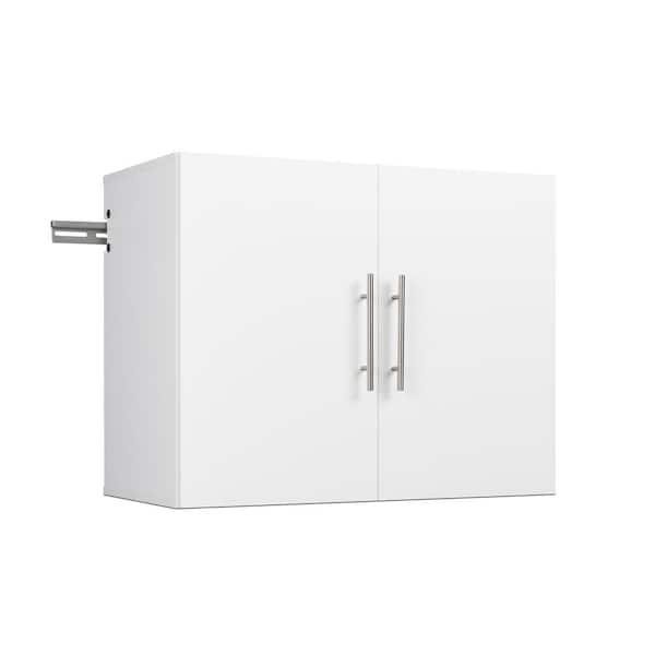 Shelf Wood Wall Mounted Garage Cabinet, White Wood Garage Storage Cabinets