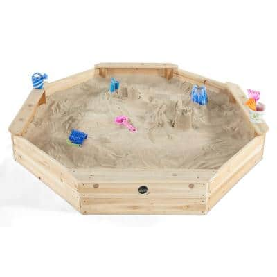 70 in. x 70 in. Octagonal Giant Wooden Sandbox with Liner and Cover