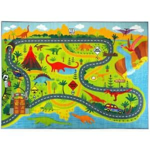 Multi-Color Kids Children Bedroom Dinosaur Dino Safari Road Map Educational Learning Game 5 ft. x 7 ft. Area Rug