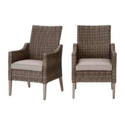 Rock Cliff Brown Wicker Outdoor Patio Stationary Dining Chair with CushionGuard Riverbed Tan Cushions (2-Pack)
