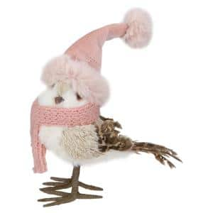 6.25 in. Winter Bird in Pink Santa Hat Tabletop Christmas Decoration
