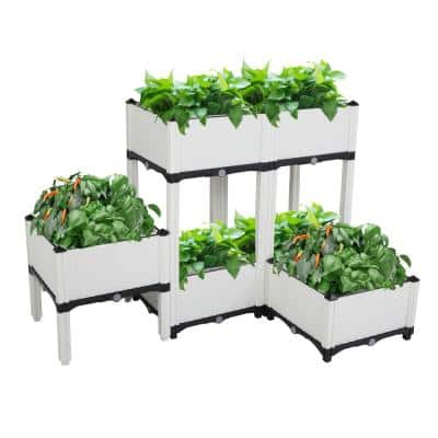 Square 15 in. White Plastic Garden Bed with Feet (6-Pack)