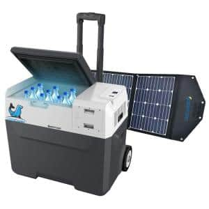 42 Qt. Battery Powered Portable Chest Fridge Freezer w/10+ Hour Run Time, Recharge Using Solar/DC/AC (with Solar Panel)