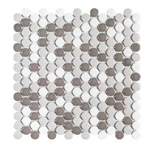 Carousel Gray 10.625 in. x 10.75 in. Penny Round Glossy Porcelain Wall and Floor Mosaic Tile (0.793 sq. ft. /Each)