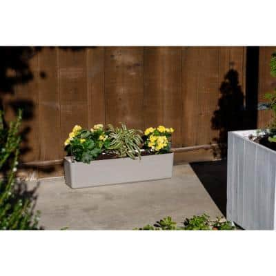 31 in. x 7.75 in. Ivory Resin Self Watering Planter