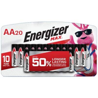 Energizer MAX Alkaline AA Batteries, 20 Pack