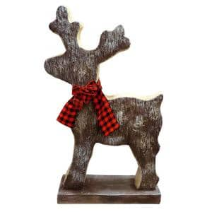 Christmas Reindeer Statue with Wood Texture for Home