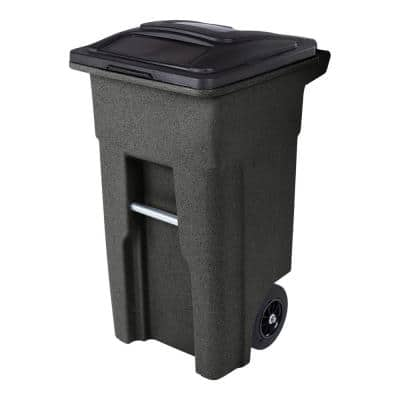 32 Gal. Blackstone Trash Can with Quiet Wheels and Attached Lid