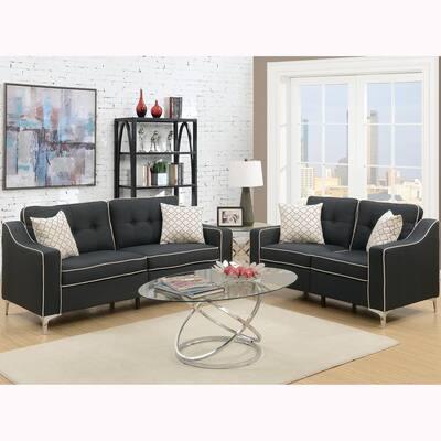 Campania 2-Piece Black Sofa Set Polyfiber