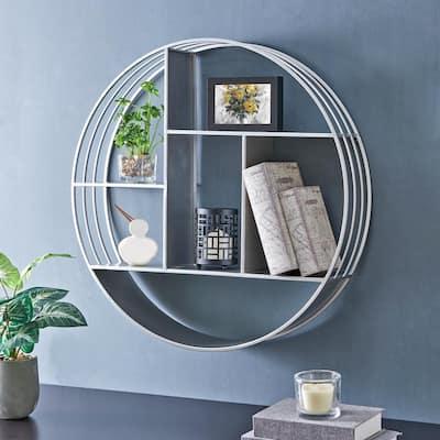 27.5 x 6 x 27.5 in. Round Metal Silver Brody Industrial Circular Shelf