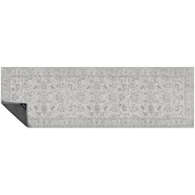 Nevermove Jordan Grey 2 ft. x 6.3 ft. Machine-Washable Polyester Designer Accent Area Rug with GellyGrippers