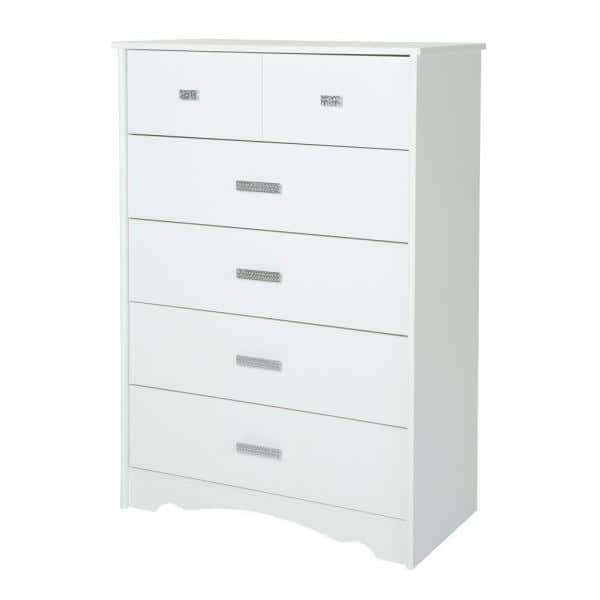 South Shore Tiara 5-Drawer Pure White Chest | The Home Depot