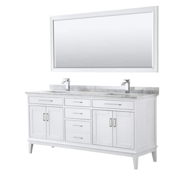 Marble Vanity Top In White Carrara W, 70 Bathroom Vanity