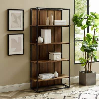 64 in. Reclaimed Barnwood Plank and Black Metal 4-Shelf Etagere Industrial Farmhouse Bookcase