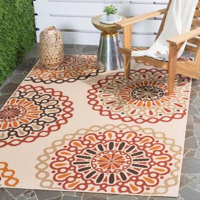 Veranda Cream/Red 3 ft. x 3 ft. Geometric Floral Indoor/Outdoor Square Area Rug