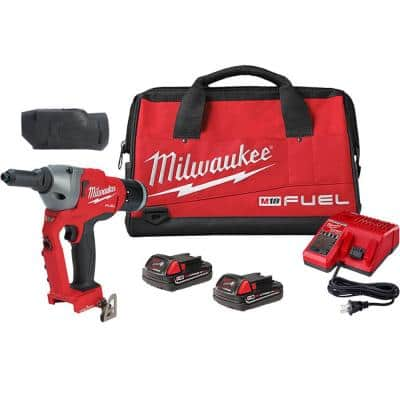 M18 FUEL ONE-KEY 18-Volt Lithium-Ion Cordless Rivet Tool Kit with Two 2.0 Ah Batteries, Charger and Protective Boot