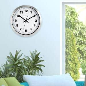 10 in. Round Silver Metal Analog Wall Clock with White Dial