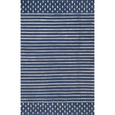 Marlowe Stripes Navy 4 ft. x 6 ft.  Area Rug