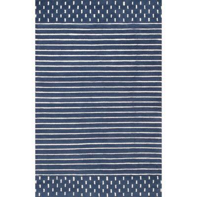 Marlowe Stripes Navy 6 ft. x 9 ft.  Area Rug