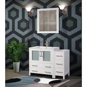 Brescia 42 in. W x 18 in. D x 36 in. H Bathroom Vanity in White with Single Basin Vanity Top in White Ceramic and Mirror