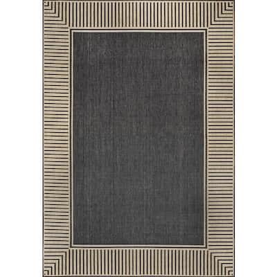 Asha Simple Border Indoor/Outdoor Dark Grey 5 ft. x 8 ft. Area Rug