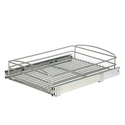 5 in. H x 15 in. W x 20 in. D Multi-Use Pull-Out Basket Cabinet Organizer in Silver