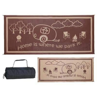 8 ft. x 11 ft. RV Home Brown/Beige Reversible Outdoor Camping Patio RV Mat