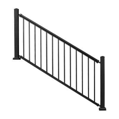 Allure 96 in. x 42 in. Black Aluminum Pre-Assembled Stair Railing Kit