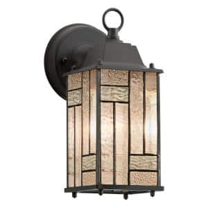 Prairie 1-Light Black Satin Outdoor Stained Glass Wall Lantern Sconce