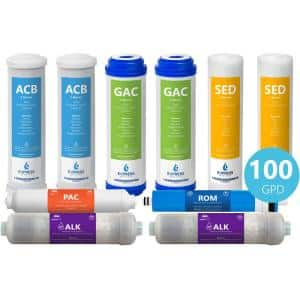 1 Year Alkaline Reverse Osmosis System Replacement Filter Set - 10 Total Filters With 100 GPD Membrane