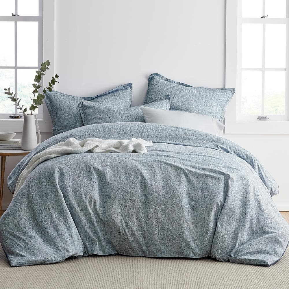 The Company Store Collins Blue Paisley Bamboo Full Duvet Cover 50434d F Blue The Home Depot