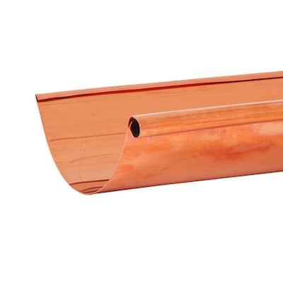 6 in. x 10 ft. Half-Round Copper Single Bead Gutter