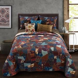Dizzy 3-Piece Blue Polyester Queen Quilt Set