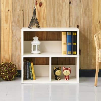 24.8 in. White Wood 3-shelf Standard Bookcase with Cubes