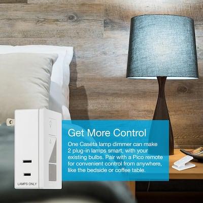 Caseta Wireless Single-Pole/3-Way Smart Lighting Lamp Dimmer and Remote Kit, White