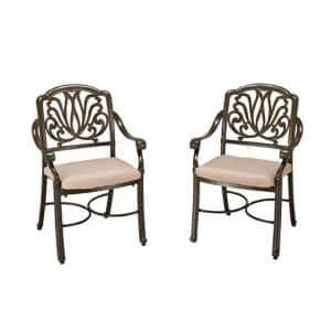 Capri Taupe Tan Brown Stationary Outdoor Arm Chairs with Natural Tan Cushions (Set of 2)
