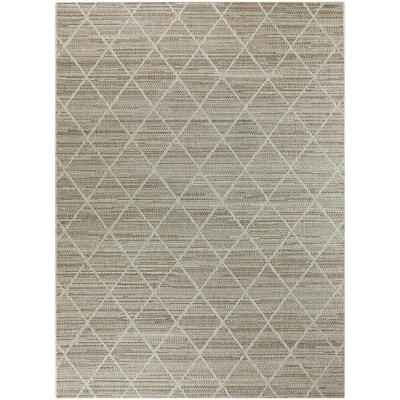 Woven Diamond Gray 9 ft. x 12 ft. Trellis Indoor/Outdoor Area Rug