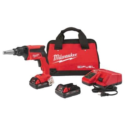 M18 FUEL 18-Volt Lithium-Ion Brushless Cordless Compact Drywall Screw Gun Kit w/(2) 2.0Ah Batteries, Charger, Tool Bag