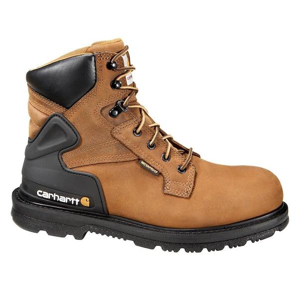 Carhartt Men S Core Waterproof 6 Work Boots Steel Toe Brown Size 10 5 M Cmw6220 10 5m The Home Depot