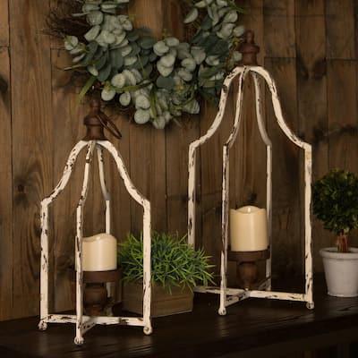 Candle Holder Farmhouse Metal Lantern (Set of 2)